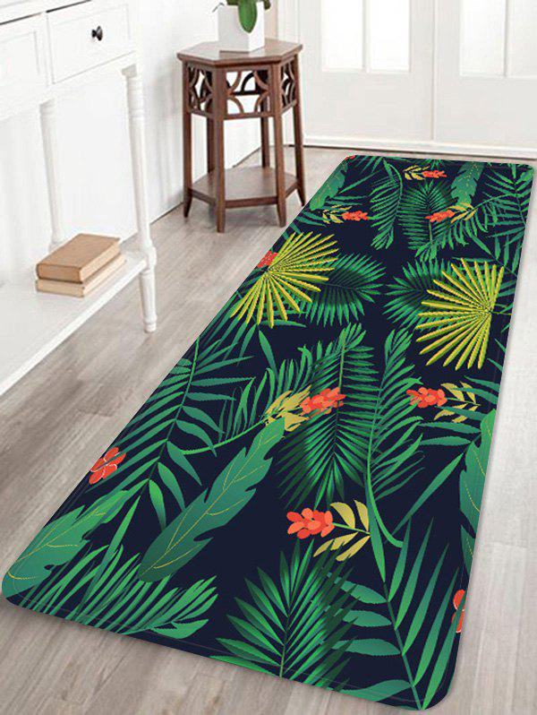Leaf Flower Print Coral Fleece Floor Mat - FOREST GREEN W24 INCH * L71 INCH