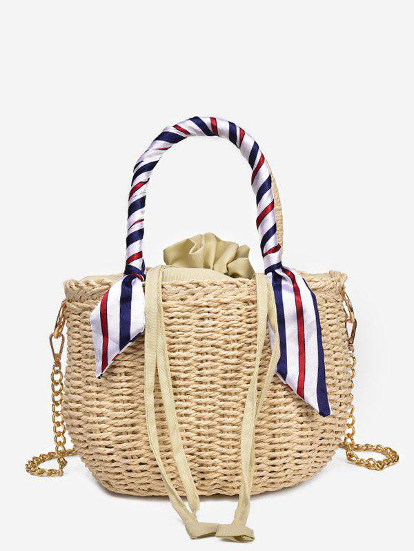 Color Block Scarf Decorated Casual Straw Tote Bag - BEIGE