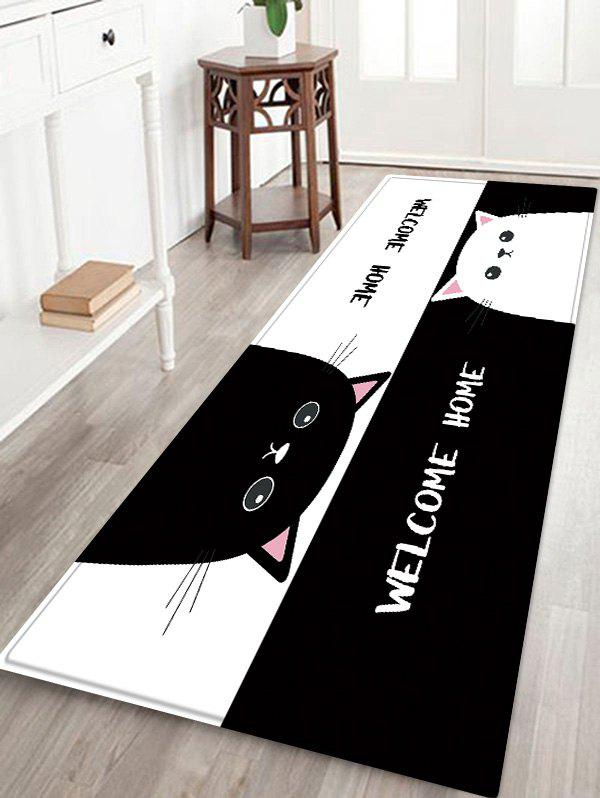 Uhommi Black and White Cartoon Cats Print Non Slip Floor Rug - BLACK W16 INCH * L47 INCH