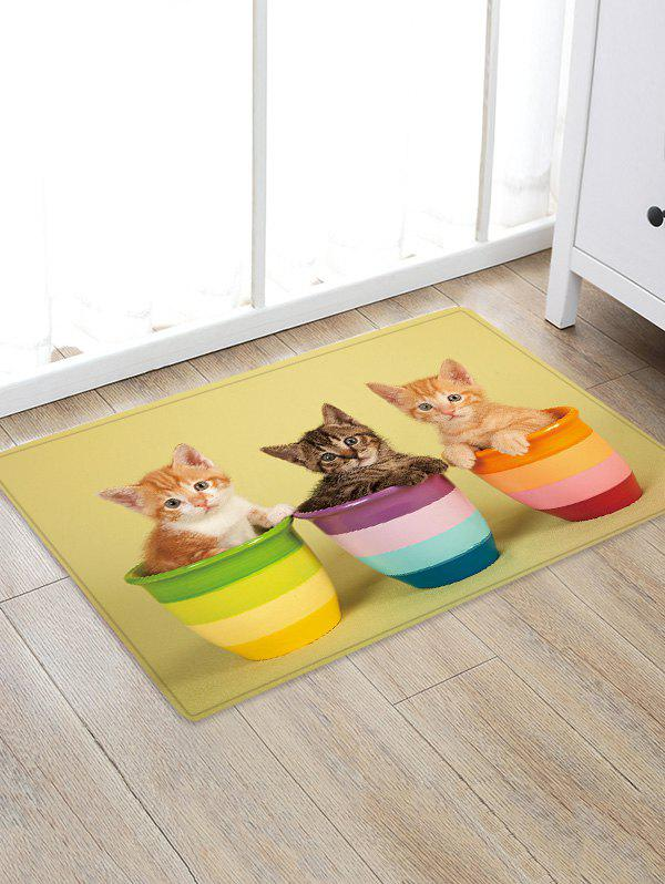 Uhommi Kitten in the Flower Pot Print Antiskid Floor Rug - GOLDENROD W20 INCH * L31.5 INCH