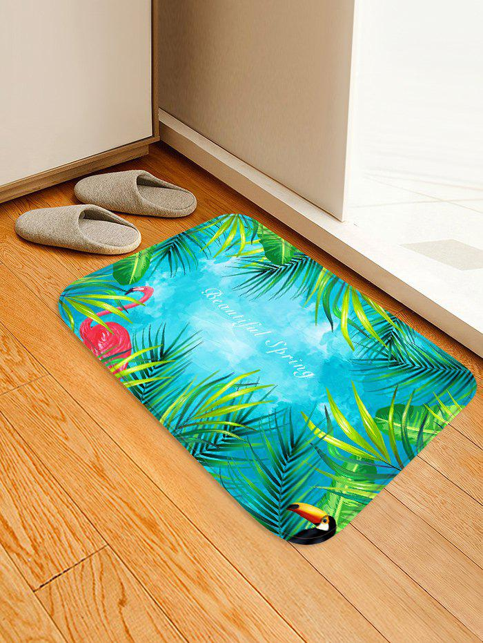 Uhommi Flamingos Tropical Leaves Print Non Slip Floor Rug - MEDIUM TURQUOISE W16 INCH * L24 INCH