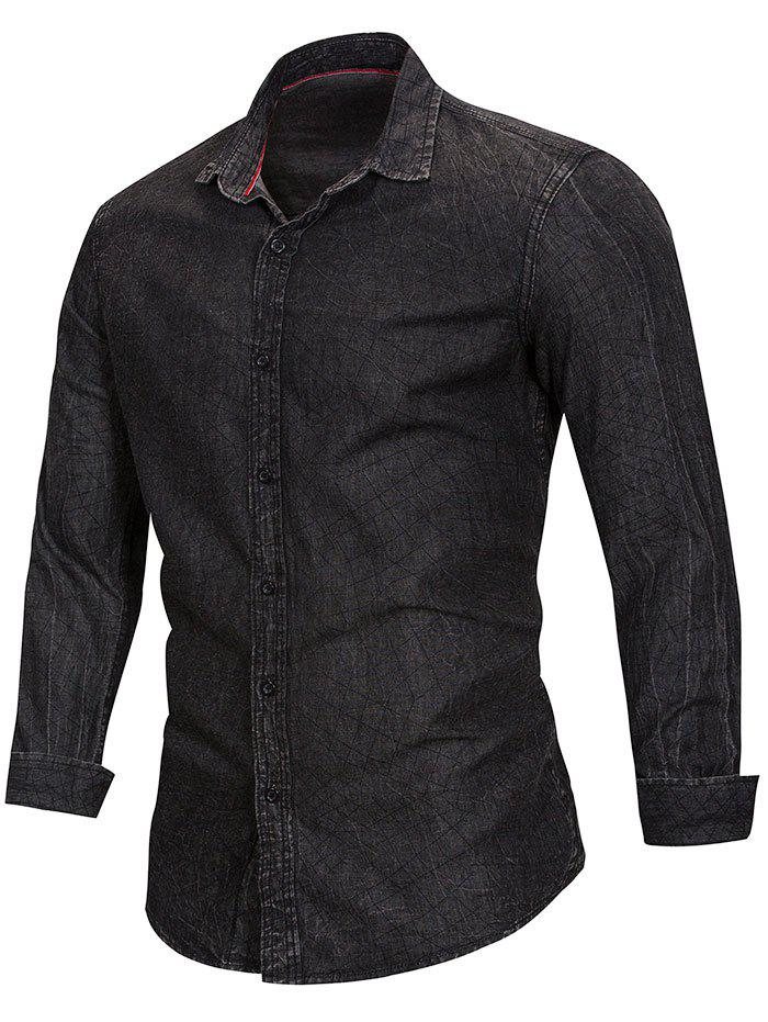 Casual Net Pattern Button Up Denim Shirt - DARK SLATE GREY L