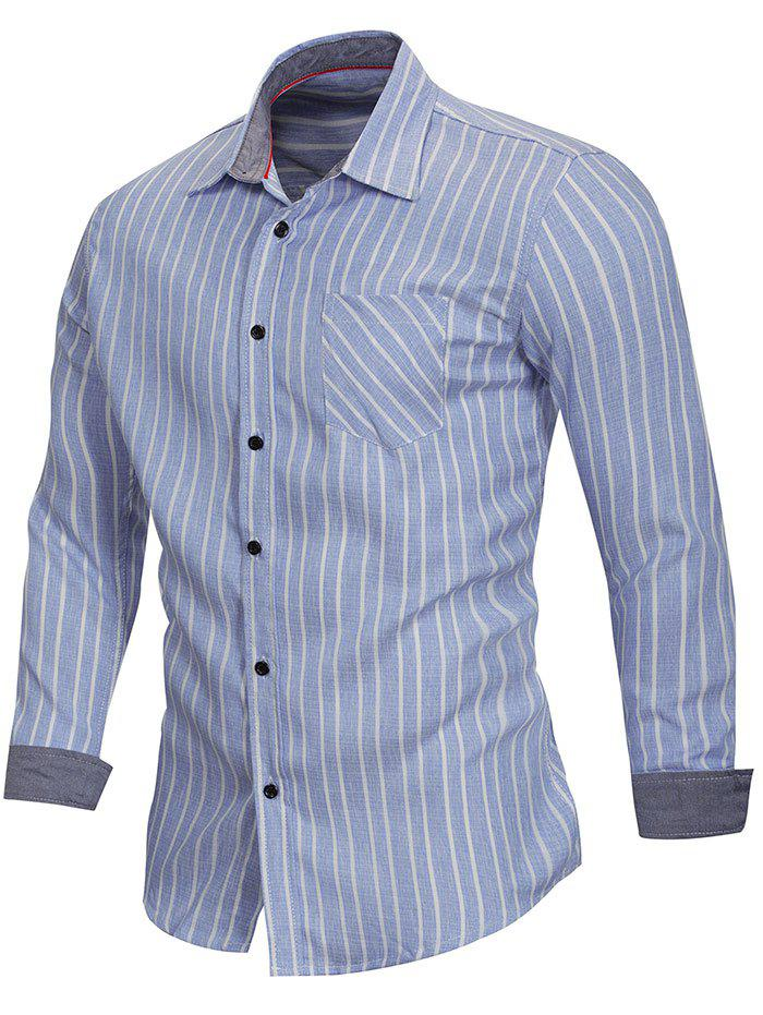 Turn Down Collar Stripe Print Shirt - DENIM BLUE L