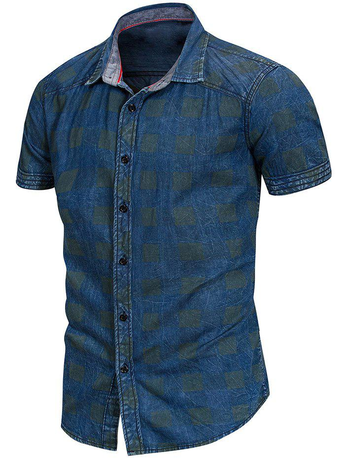 Check Print Button Up Shirt - BLUE JAY L