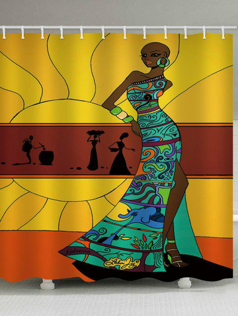 Stylish African Lady Printed Waterproof Bath Curtain - multicolor W59 INCH * L71 INCH