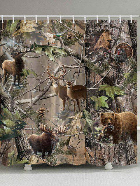 Jungle Animals Waterproof Shower Curtain - multicolor W65 INCH * L71 INCH
