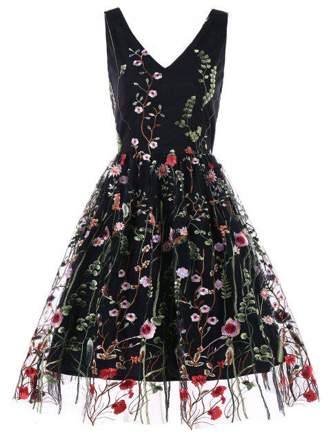 Double V Neck Embroidered Party Dress - BLACK M