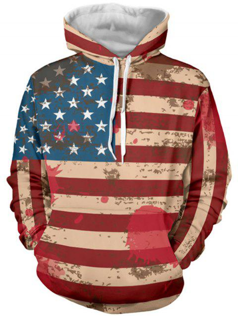 Distressed American Flag Pullover Drawstring Hoodie - RED XL