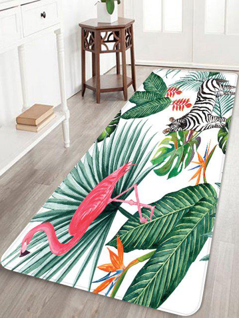 Flamingo Zebra Leaf Printed Coral Fleece Floor Rug - WATERMELON PINK W16 INCH * L47 INCH