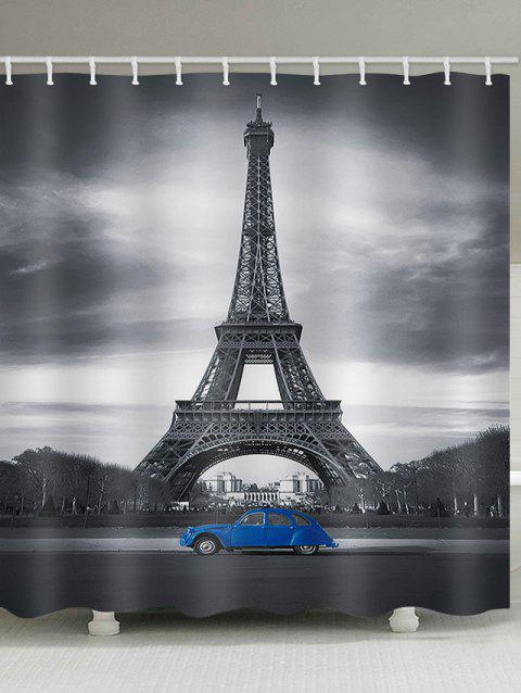 Eiffel Tower Blue Car Waterproof Shower Curtain - multicolor W65 INCH * L71 INCH