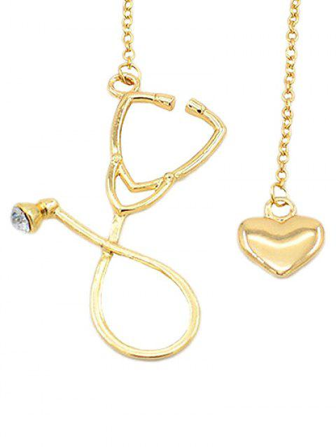 Vintage Stethoscope Heart Pendant Necklace Jewelry - GOLD