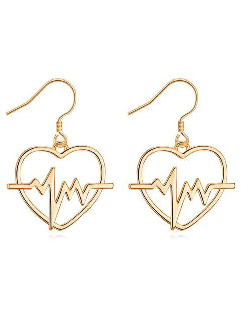 Pair of Hollow Out Heart Party Hook Earrings - GOLD