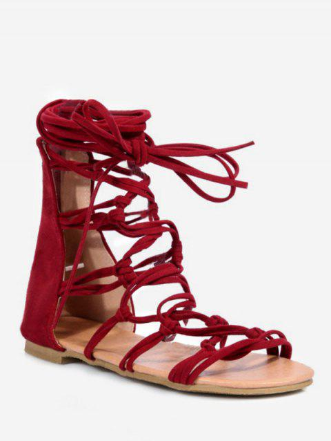 Plus Size Crisscross Leisure Flat Heel Lace Up Sandals - RED WINE 38