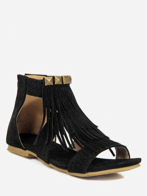 Plus Size Leisure Ankle Strap Fringes Sandals - BLACK 41
