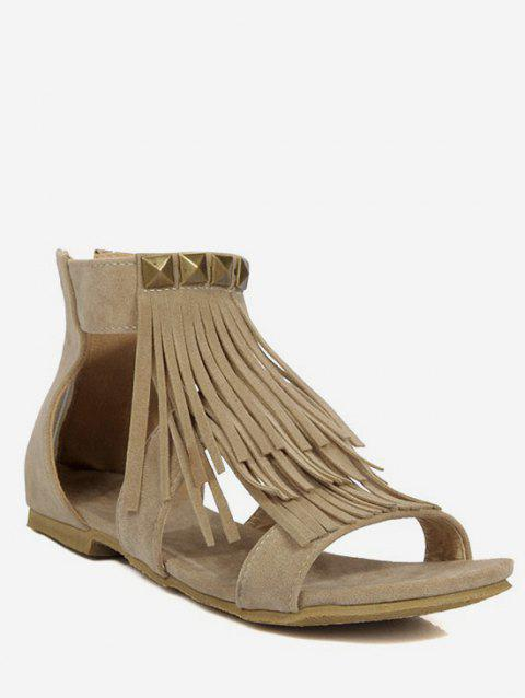 Plus Size Leisure Ankle Strap Fringes Sandals - BEIGE 38