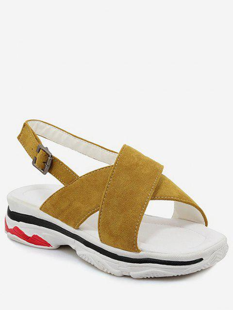 Plus Size Crisscross Leisure Platform Sandals - BEE YELLOW 38