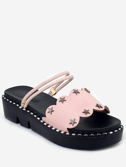 Plus Size Reversible Platform Heel Studded Slide Sandals - PINK 40