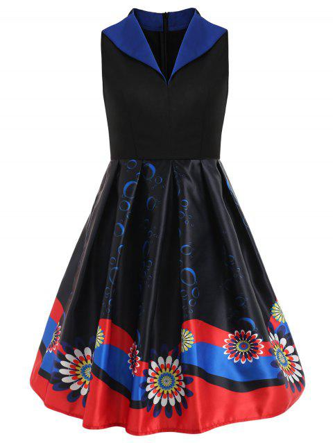 Print Sleeveless Swing Vintage Dress - BLACK XL