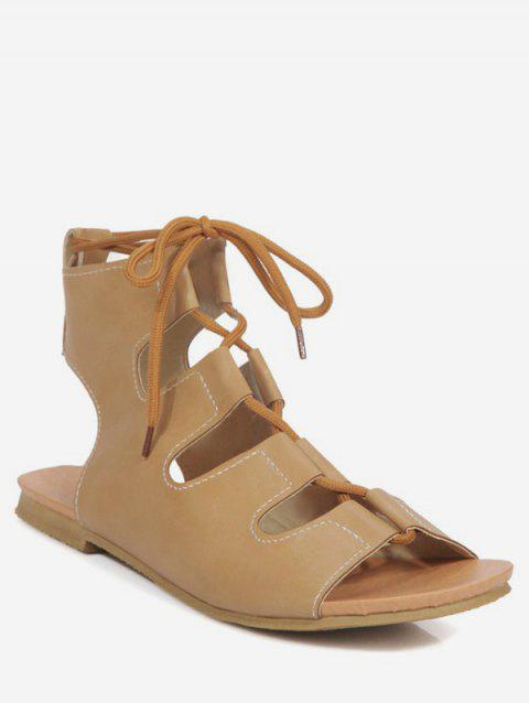 Plus Size Leisure Crisscross Hollow Out Lace Up Sandals - CAMEL BROWN 40