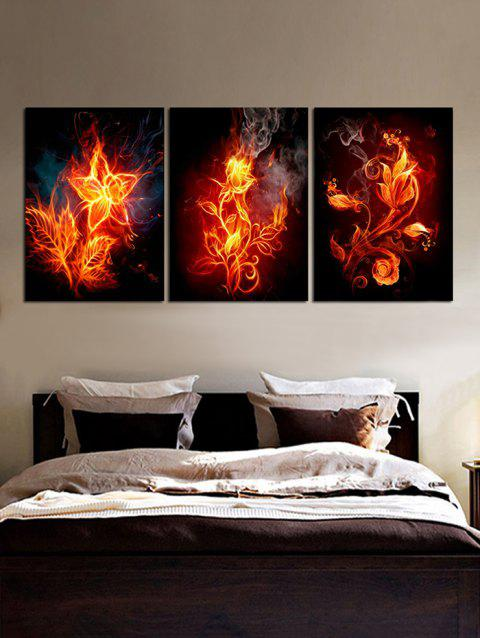 Burning Flowers Unframed Canvas Paintings - multicolor 3PC:12*18 INCH( NO FRAME )