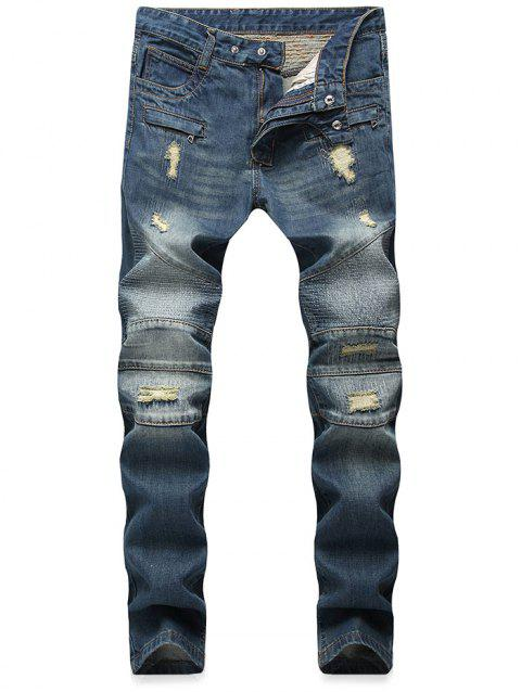 Stitched Patch Tapered Biker Jeans - BLUE JAY 38