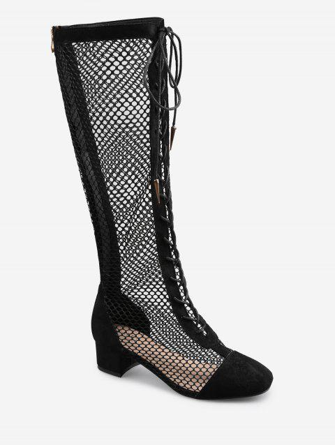 Low Heel Hollow Out Mesh Mid Calf Boots - BLACK 39