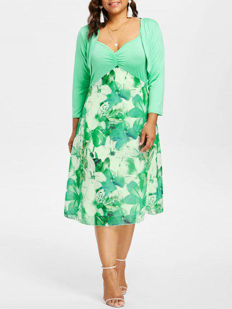 41% OFF] 2019 Plus Size Empire Waist Print Cami Dress In GREEN ...
