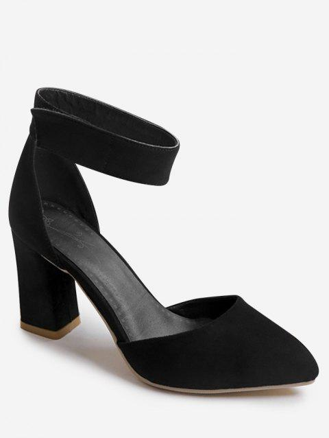 Plus Size Block Heel Leisure Pointed Toe Sandals - BLACK 39