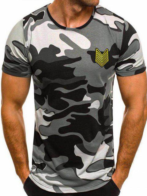 Camo Print Appique Short Sleeve T-shirt - GRAY 2XL