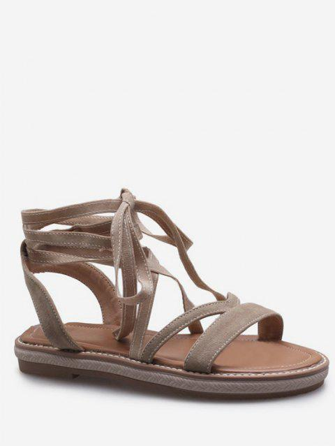 Plus Size Ankle Strap Chic Lace Up Sandals - BEIGE 42
