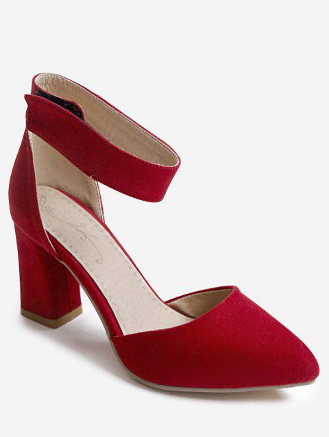 Plus Size Block Heel Leisure Pointed Toe Sandals - RED 40