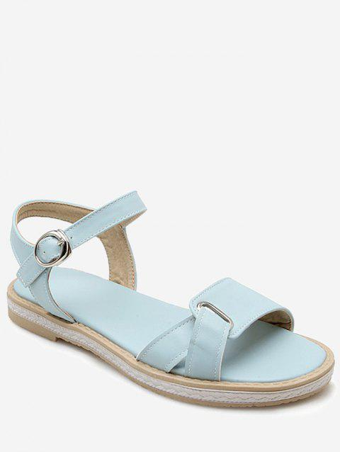 Plus Size Leisure Buckled Ankle Wrap Sandals - LIGHT SKY BLUE 37