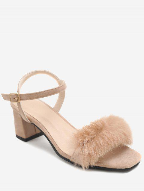 Plus Size Furry Chunky Heel Ankle Wrap Sandals - APRICOT 37