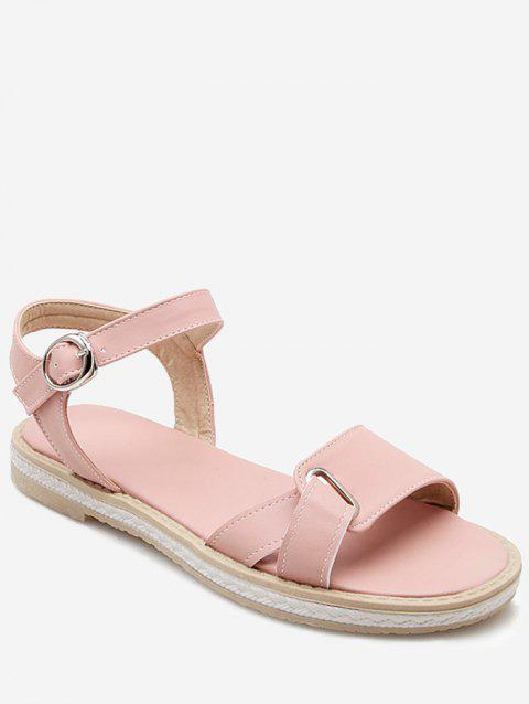 Plus Size Leisure Buckled Ankle Wrap Sandals - PINK 42
