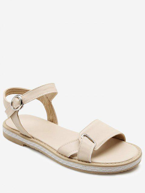 Plus Size Leisure Buckled Ankle Wrap Sandals - BEIGE 38