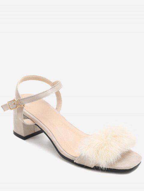 Plus Size Furry Chunky Heel Ankle Wrap Sandals - BEIGE 37