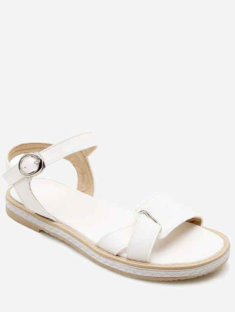 Plus Size Leisure Buckled Ankle Wrap Sandals - WHITE 40