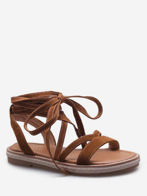 Plus Size Ankle Strap Chic Lace Up Sandals - BROWN 39