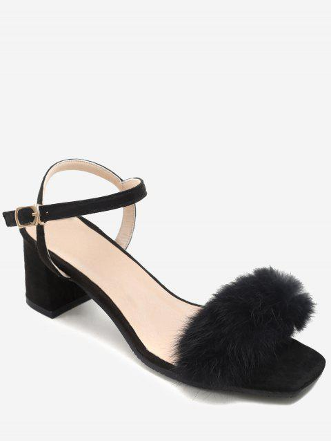 Plus Size Furry Chunky Heel Ankle Wrap Sandals - BLACK 37