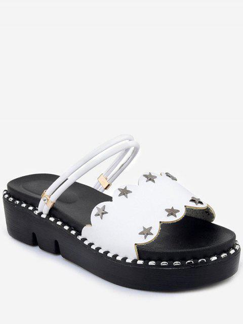Plus Size Reversible Platform Heel Studded Slide Sandals - WHITE 38