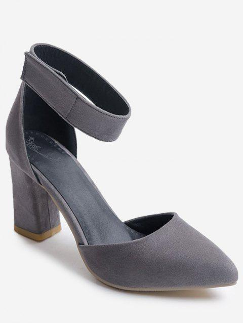 Plus Size Block Heel Leisure Pointed Toe Sandals - CLOUDY GRAY 37
