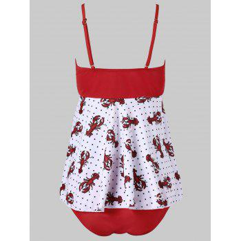 Crayfish Polka Dot Print Tankini Set - FIRE ENGINE RED L