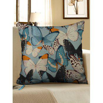 Colorful Butterfly Print Linen Sofa Pillowcase - multicolor W18 INCH * L18 INCH