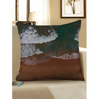 Beach Waves Print Linen Sofa Pillowcase - multicolor W18 INCH * L18 INCH