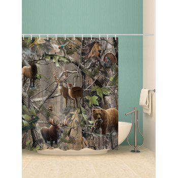 Jungle Animals Waterproof Shower Curtain - multicolor W59 INCH * L71 INCH