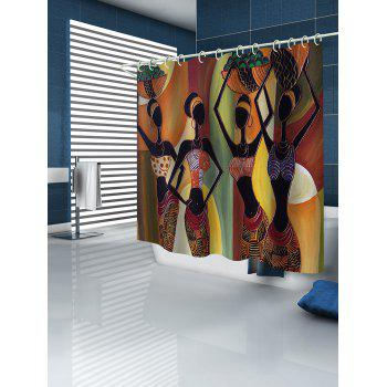 African Tribal Girls Stall Shower Curtain - multicolor W65 INCH * L71 INCH