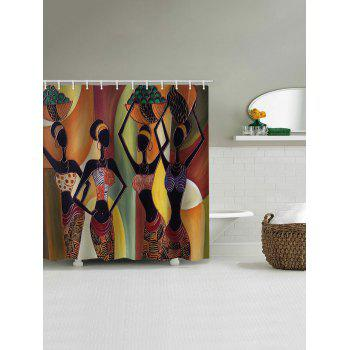 African Tribal Girls Stall Shower Curtain - multicolor W71 INCH * L71 INCH
