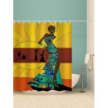Stylish African Lady Printed Waterproof Bath Curtain - multicolor W71 INCH * L79 INCH