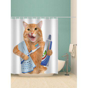 Orange Cat Brushing Teeth Waterproof Shower Curtain - WHITE W71 INCH * L71 INCH