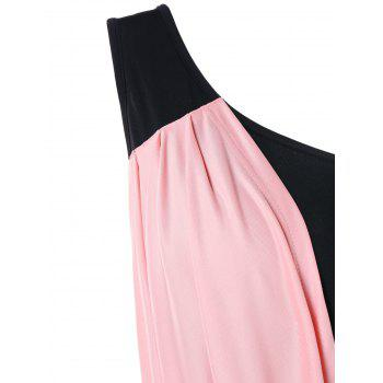 One Shoulder Overlay Bodycon Dress - LIGHT PINK XL